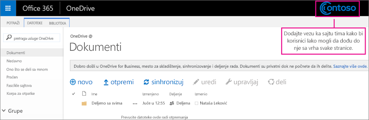 Dodajte vezu ka lokaciji tima na vrhu svake stranice kako bi korisnici lako mogli da dođu do nje