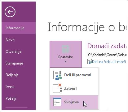 """Nadogradnju na najnoviju verziju programa OneNote možete izvršiti direktno iz menija """"Datoteka""""."""