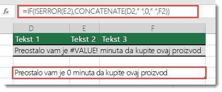 Funkcije IF i ISERROR korišćene kao privremeno rešenje za spajanje niske sa #VALUE! greškom