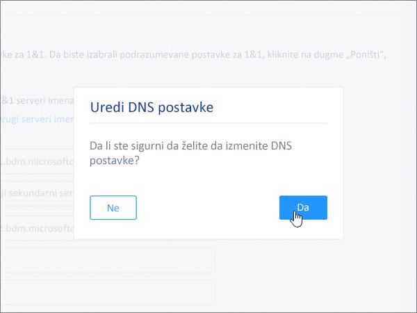 """Klik na dugme """"Sačuvaj"""" u dijalogu """"Uređivanje DNS postavki"""""""