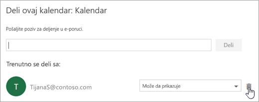 """Snimak ekrana dijaloga """"Deljenje ovog kalendara""""."""