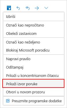 Izbor prozor izvora poruke