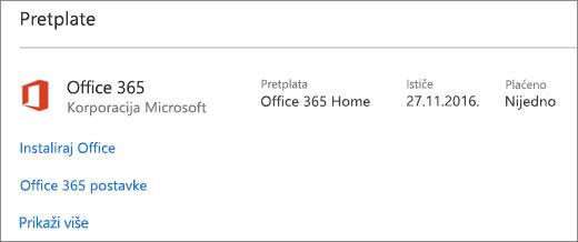 Ako je vaša Office 365 probna verzija instalirana na novom računaru, ona će isteći na datum koji je prikazan