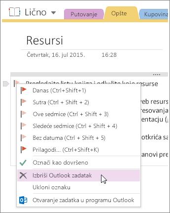Snimak ekrana koji pokazuje kako da izbrišete Outlook zadatak u programu OneNote 2016.