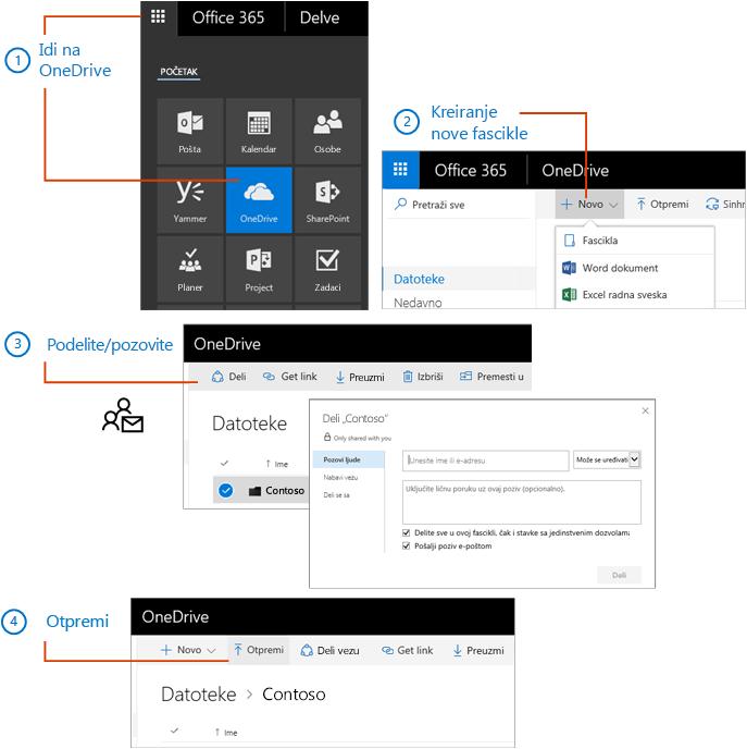 U usluzi OneDrive napravite fasciklu i delite je