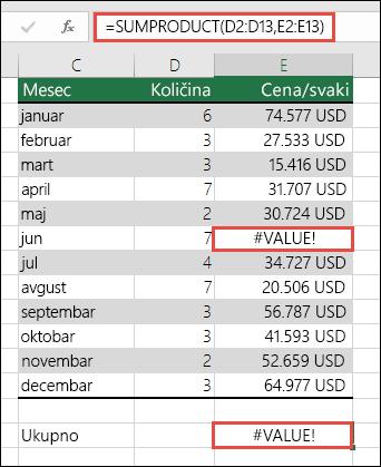 formula u ćeliji E15 prikazuje #VALUE! grešku jer u koloni E postoji #VALUE! greška.