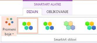 """Dugme """"Promeni boje"""" u grupi """"SmartArt Stilovi"""""""