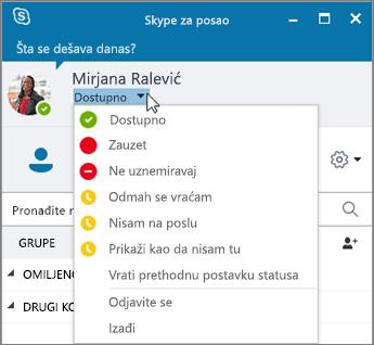 """Snimak ekrana prozora programa Skype za posao sa otvorenim menijem """"Status""""."""