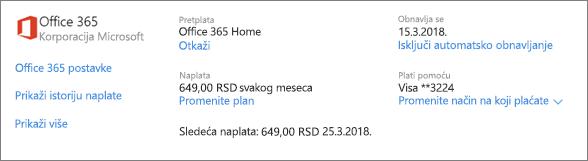 """Snimak ekrana stranice """"Usluge i pretplate"""" koji prikazuje detalje o pretplati na Office 365 Home."""