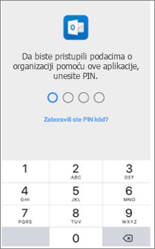 Unesite PIN kôd na iOS uređaju da biste pristupili Office aplikacijama.