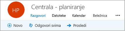 Evo kako izgleda u zaglavlju grupe u programu Outlook na Vebu