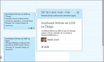 Snimak ekrana programa Outlook koji prikazuje informacije o letu.
