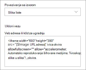 Primer koda za ugrađivanje izabrane slike