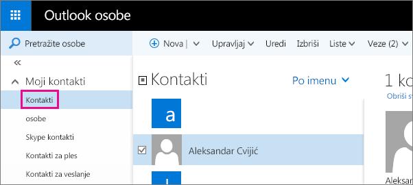 """Snimak ekrana stranice """"Outlook osobe"""". U levom oknu razvijena je stavka """"Moji kontakti"""", a fascikla """"Kontakti"""" se pojavljuje ispod nje."""