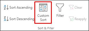 Excel opcije prilagođenog sortiranja iz kartice Podaci