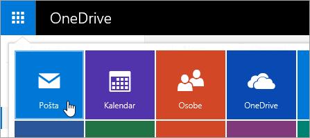 Snimak ekrana pošte pločica u pokretanju aplikacija.