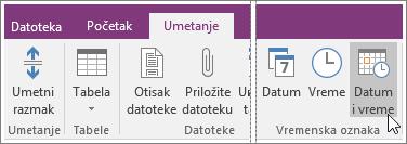 "Snimak ekrana dugmeta ""Datum i vreme"" u programu OneNote 2016."
