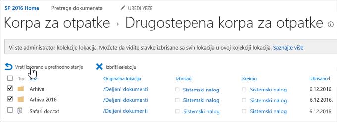 """SharePoint 2 nivo reciklažu sa istaknutim dugmetom dugmeta """"vrati"""""""