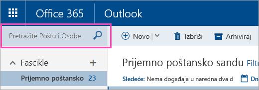 """Snimak ekrana polja """"Pretraga pošte i osoba"""""""