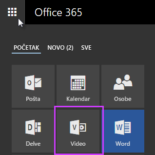 "Ikona ""Office 365 Video"" u pokretanju aplikacija"