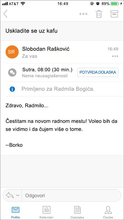 Snimak ekrana prikazuje ekran mobilnog uređaja sa stavku pošte.
