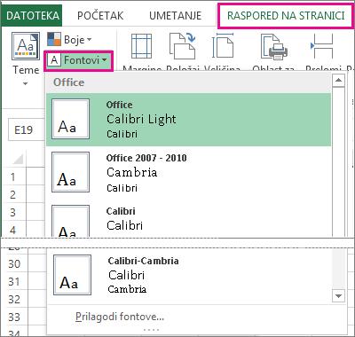 """Galerija fontova na kartici """"Raspored stranice"""""""