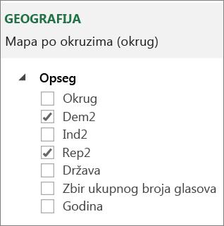 Lista opsega u oknu zadataka