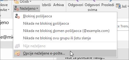 Snimak ekrana dugmeta opcije neželjene e-pošte