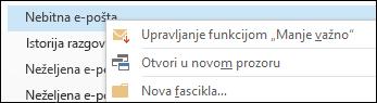 Upravljanje nebitnom e-poštom