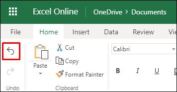 """Koristite dugme Opozovi radnju u programu Excel za Veb na kartici """"Početak"""" da biste poništili prethodno sortiranje"""