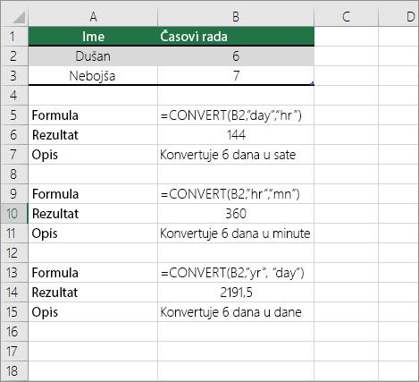 Primer: Pretvaranje vrednosti iz jedne vremenske jedinice u drugu