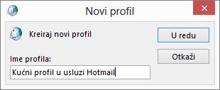"""Dijalog """"Novi profil"""""""