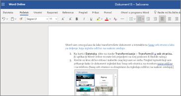 Dokument sa slikama u programu Word online