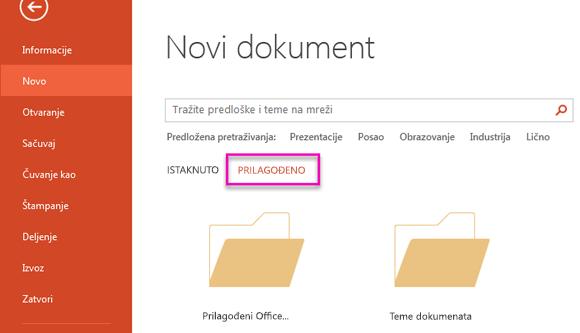 """Na stranici """"novi dokument"""", izaberite stavku Prilagođeno da biste pristupili predložak koji ste kreirali."""