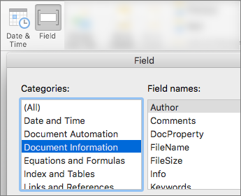 Snimak ekrana koji prikazuje kodove polja, Filtrirano po kategoriji informacije o dokumentu