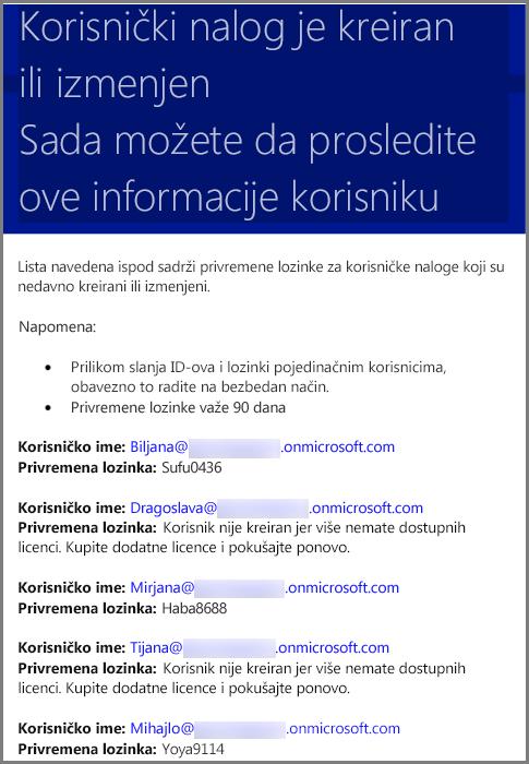 Uzorak e-pošte sa korisničkim informacijama o akreditivima