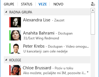 Snimak ekrana sortiranja kontakata po relacijama
