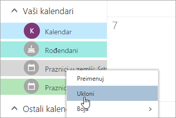 "Snimak ekrana opcija kalendara ""Ukloni"""