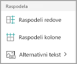 Windows Mobile distribucija kolona i redova tabele