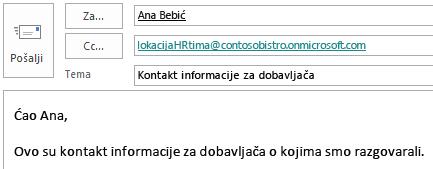 E-poruka sa poštanskim sandučetom na veb lokaciji uključenim u red CC.