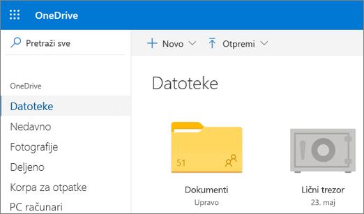 """Snimak ekrana ličnog trezora koji se pojavljuje u prikazu """"Datoteke"""" u usluzi OneDrive na vebu."""