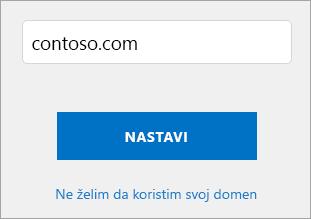 Snimak ekrana koristite stranicu domena.