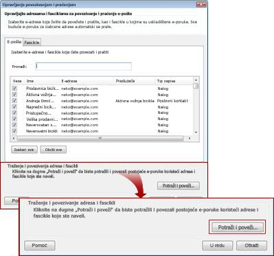 the manage linking and tracking dialog box with the search and link button outlined.