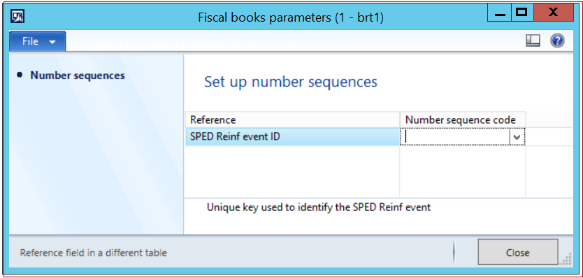 Sped Reinf Number sequence
