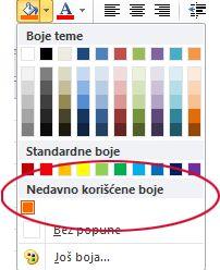 """Opcija """"Nedavne boje"""""""