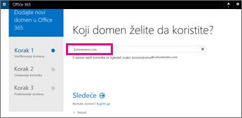 Otkucajte domen koji želite da koristite u usluzi Office 365