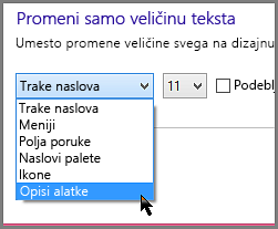 Postavke oblikovanja za Windows 8 opise alatki