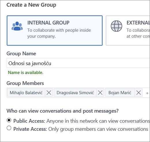 Kreiranje grupe