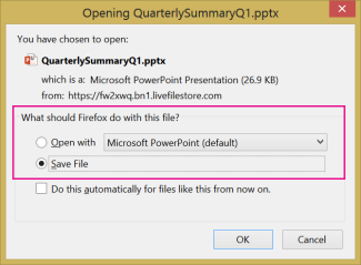 Šta Firefox treba da uradi sa ovom datotekom?