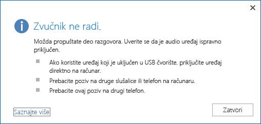 Snimak ekrana audio greške i opcija za proveru